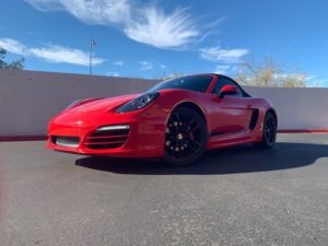 Red Porsche Installation Car Window Tinting Mesa AZ